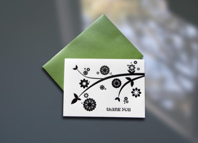 Branch and Flowers Letterpress Thank You Note – Sky of Blue Cards – $5/Single $20/Boxed Set of 8