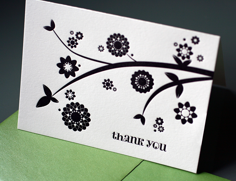 Branch and Flowers Thank You Cards