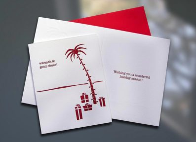 Holiday Palm Tree Letterpress Card – Sky of Blue Cards – $4.50