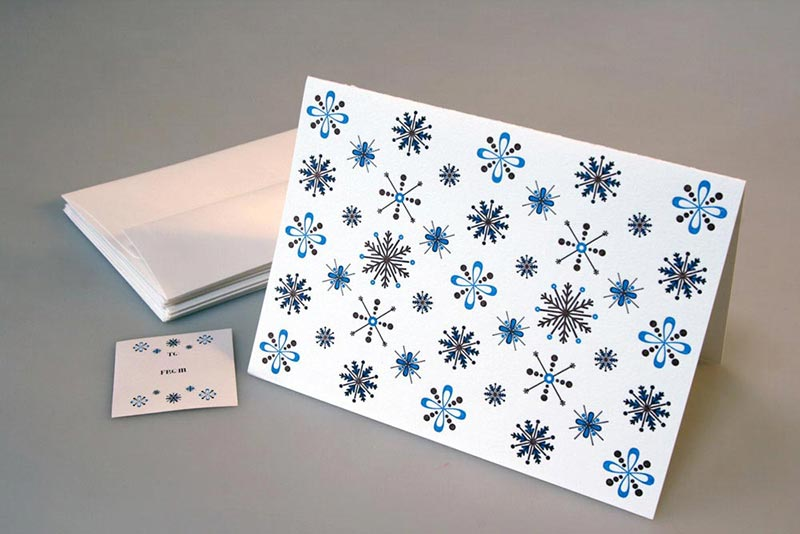 modern snowflakes letterpress holiday card sky of blue cards 450 single 18 boxed set - Letterpress Holiday Cards