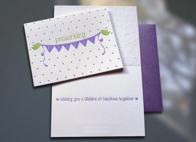 Birdies Mr. & Mrs. Letterpress Wedding Card – Sky of Blue Cards – $4.50