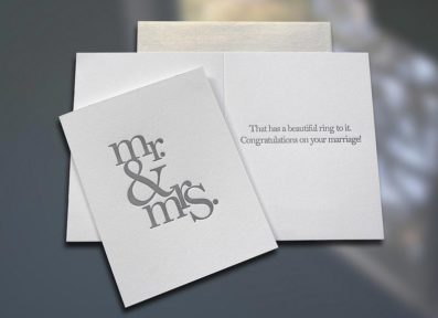 Mr. & Mrs. (Stacked) Letterpress Wedding Card – Sky of Blue Cards – $4.50