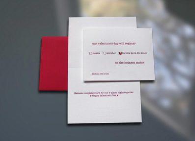Hotness Meter w/gemstone Letterpress Valentine's Day Card – Sky of Blue Cards – $5.00