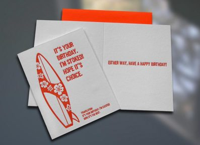 Surfer Translations Stoked Letterpress Card – Sky of Blue Cards – $4.50