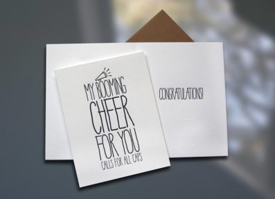 Cheer ALL CAPS Letterpress Card – Sky of Blue Cards – $4.50