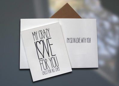 Crazy Love ALL CAPS Letterpress Card – Sky of Blue Cards – $4.50