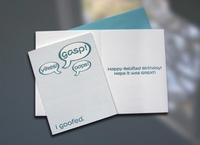 Gasp! Belated Birthday Letterpress Card – Sky of Blue Cards – $4.50