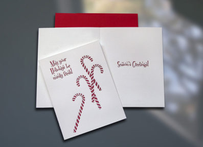 Candy Canes Letterpress Holiday Card – Sky of Blue Cards – $4.50 Single/$18 Boxed Set of 8