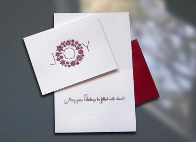 Joy Wreath Letterpress Holiday Card – Sky of Blue Cards – $4.50 Single/$18 Boxed Set of 8