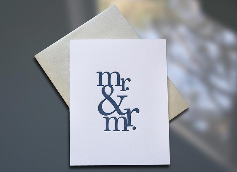 Mr. & Mr. — Stacked Wedding Card