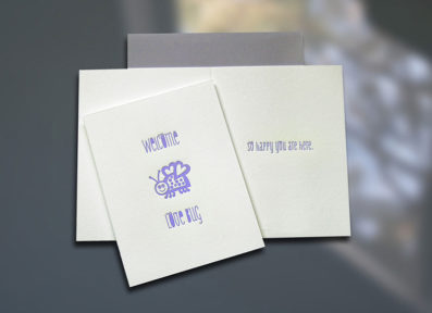 Welcome Love Bug Letterpress New Baby Card – Sky of Blue Cards – $4.50