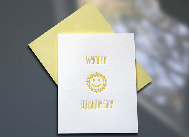 Welcome Sunshine Face – New Baby