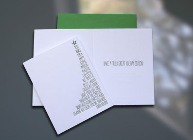 Xmas Tree List Letterpress Christmas Card – Sky of Blue Cards – $4.50 Single/$18 Boxed Set of 8