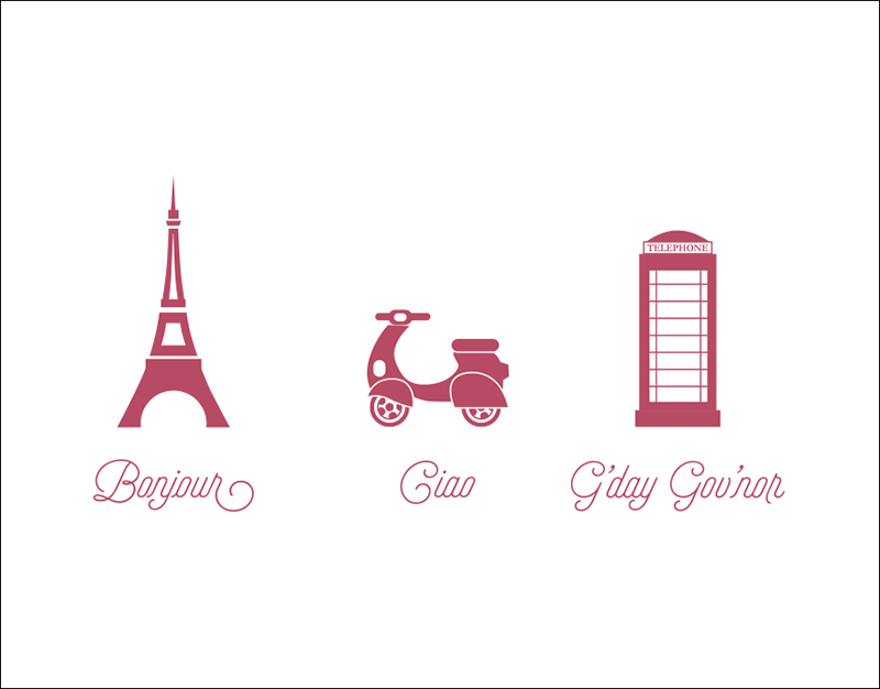 Bonjour – Ciao – G'Day Note Card