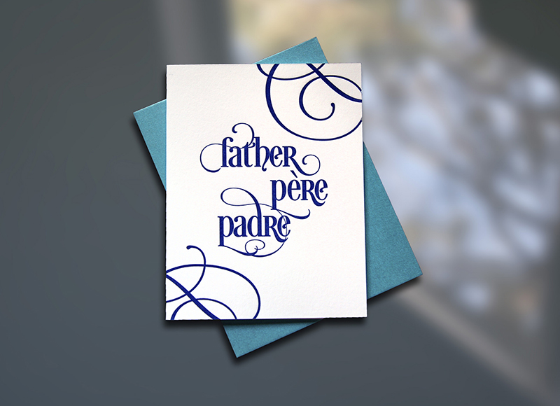 Father – Pere – Padre Father's Day Card