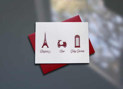 Bonjour-Ciao-G'day Letterpress Note Card – Sky of Blue Cards – $4.50 single, $18 Boxed Set of 8