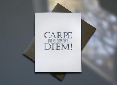 Carpe Diem Letterpress Graduation Card – Sky of Blue Cards – $4.50 single