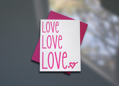Love Love Love Letterpress Valentine's Day Card – Sky of Blue Cards – $4.50 single