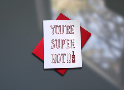 Super Hot Letterpress Valentine's Day Card – Sky of Blue Cards – $4.50 single