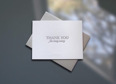Thank You Evening Letterpress Thank You Card – Sky of Blue Cards – $4.50 single, $18 Boxed Set of 8