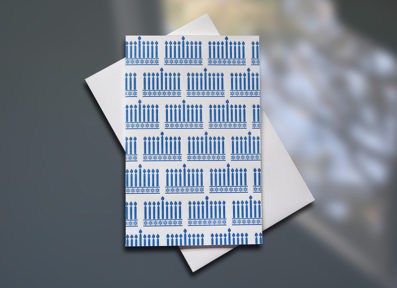 Menorah Pattern Mini letterpress card - Sky of Blue Cards - $3.80 single $15 Boxed Set of 6