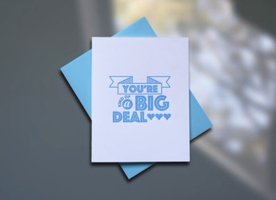 Big Deal Letterpress Birthday Card - Sky of Blue Cards - $4.50 single