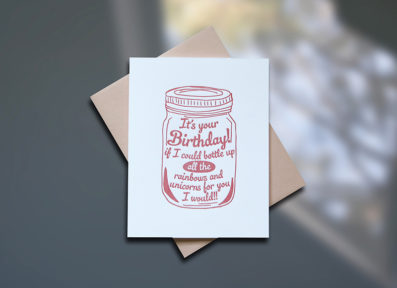Mason Jar Letterpress Birthday Card - Sky of Blue Cards - $4.50 single