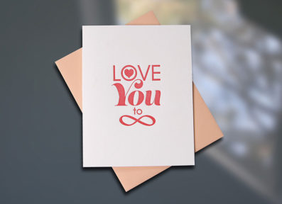 Love Infinity Letterpress Card — Sky of Blue Cards — $5/single