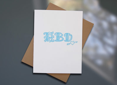 "Sky of Blue Cards ""HBD"" Letterpress Birthday Card — Single Card $5— www.skyofbluecards.com"