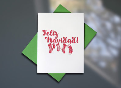 Felix Navidad Holiday Letterpress Card by Sky of Blue Cards, $5 single/$20 Boxed Set of 8  www.skyofbluecards.com