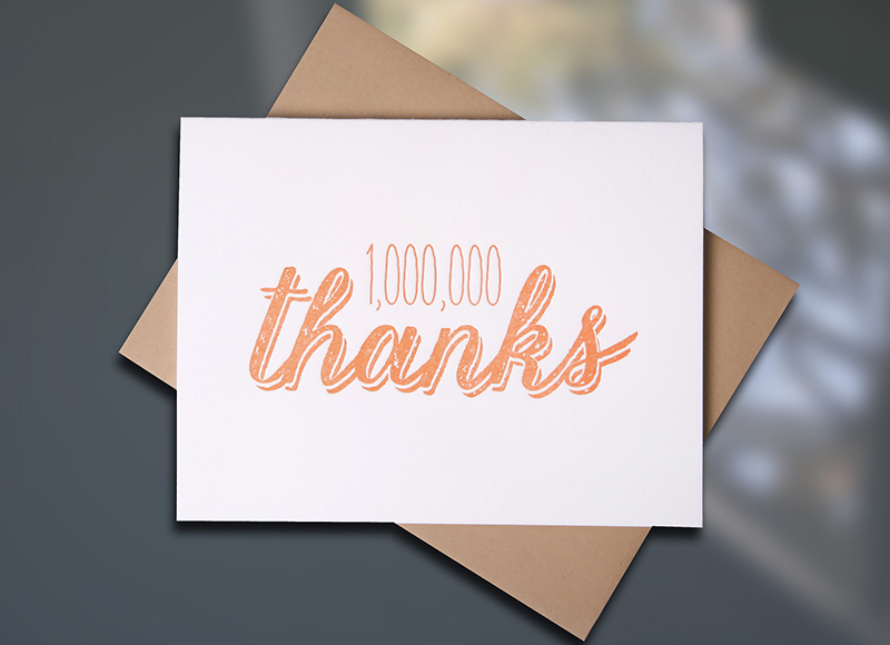 Million Thanks — Note Card
