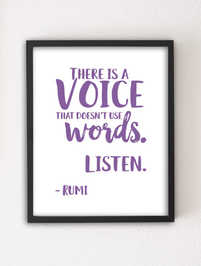 There is a Voice 8×10 letterpress motivational art print by Sky of Blue Cards — $5.95, unframed www.skyofbluecards.com