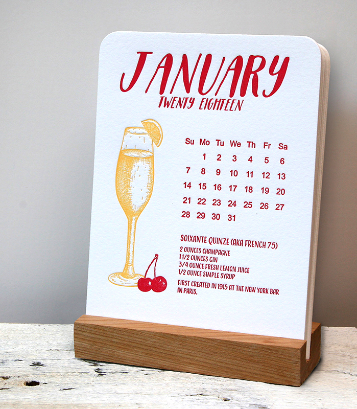 2018 Letterpress Desktop Cocktail Calendar
